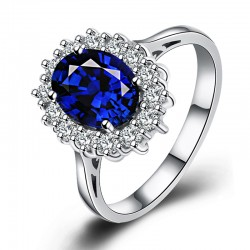 Sapphire Ring 925 Sterling Silver Plated 18K White Gold 2.5g