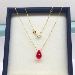 JOMEE Japan Akoya Sea Pearl 18K Red Water Drop Necklace